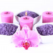 Spa salt, candles and orchid — Stock Photo