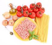 спагетти болоньезе ингредиенты — Стоковое фото