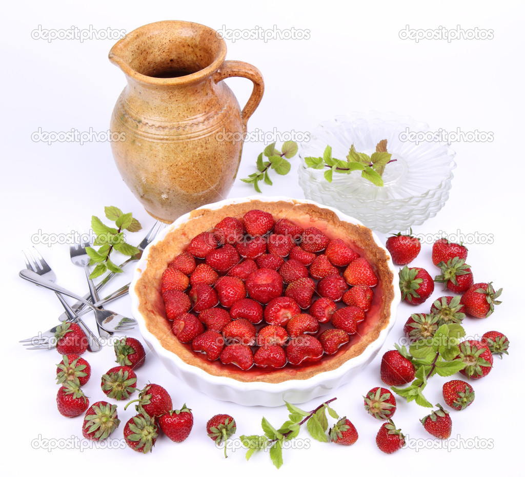 Strawberry Tart, plates, a pot, forks, strawberries and mint twigs on a white background  — Stock Photo #6039855