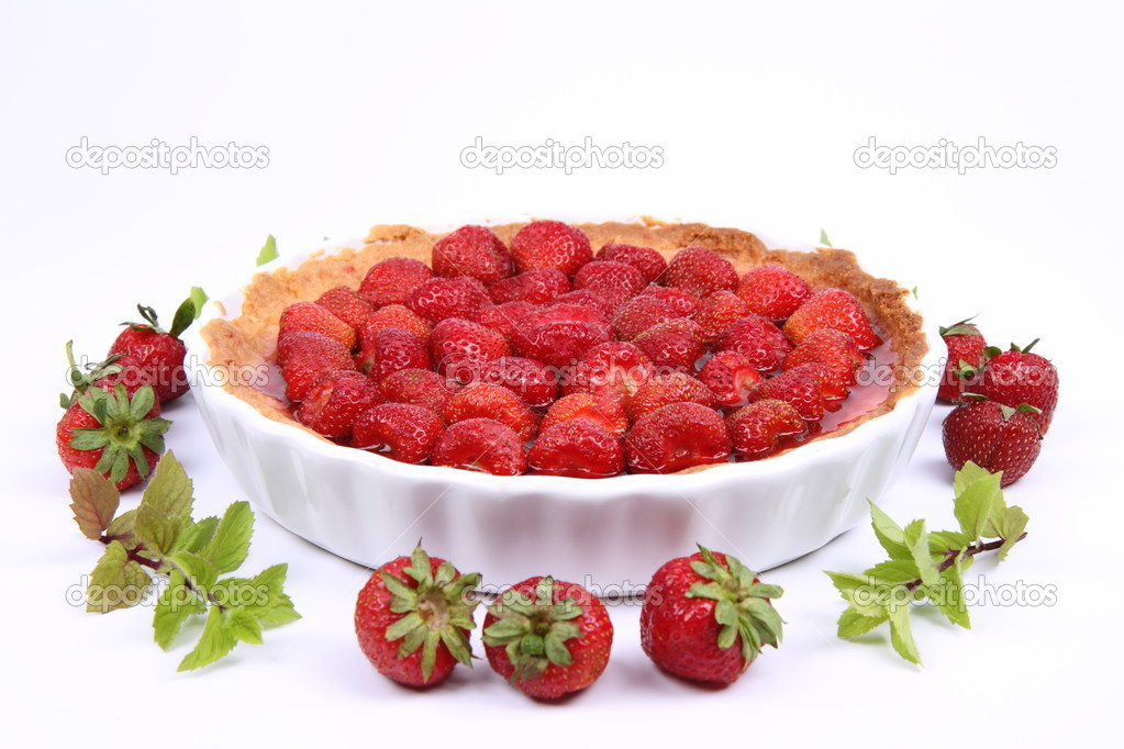 Strawberry Tart decorated with strawberries and mint twigs on a white background  — Stock Photo #6041276