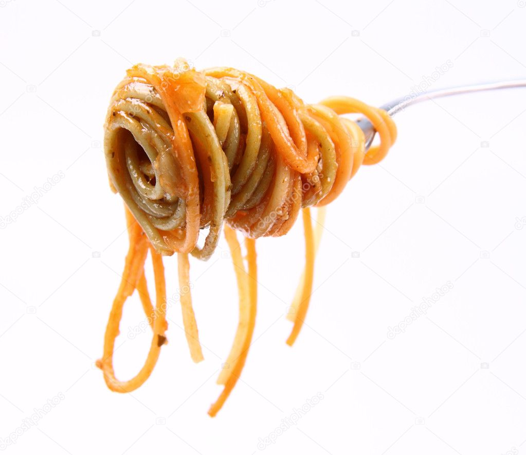 Spaghetti with sauce hanging on a fork  — Stock Photo #6569305