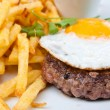 Steak beef meat and egg — Stock Photo