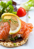 Fresh salmon salad — Stock Photo