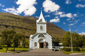 Wooden old blue church in Seydisfjordur village - Iceland — Stock Photo