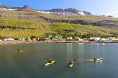 Tourist in Kayak. In background Seydisfjordur village - Iceland — Stock Photo