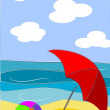 Beach beauty colorful illustration - vector — Stockvectorbeeld