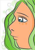 Elf se zelenýma tkaničkama, čelit - vektor — Stock vektor