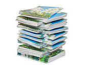 Pyramid from color magazines — Stock Photo