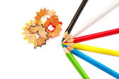 Pencils and shavings — Stock Photo
