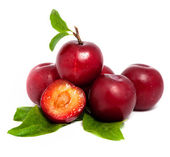 Pile of fresh plums with leafs — Stock Photo
