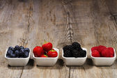 Row of wild berries in bowls — Stock Photo
