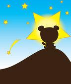 Illustration en liten björn och en stjärna på en blå bakgrund och uppsättning av små — Stockfoto