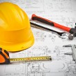 Construction drafts and tools background — Stock Photo #5704716