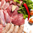 Fresh meat ready to cook with Ingredient - background — Stock Photo