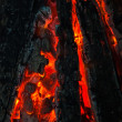Background from a fire, conflagrant firewoods and coals — Stock Photo