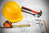 Construction drafts and tools background — 图库照片