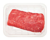 Huge red meat chunk in box — Stock Photo