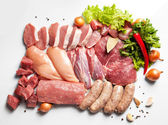 Fresh meat ready to cook with Ingredient - background — 图库照片