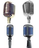 Retro mikrofone, isoliert auf weiss — Stockfoto