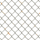 Chain Fence. Steel grid isolated on white — Stock Photo