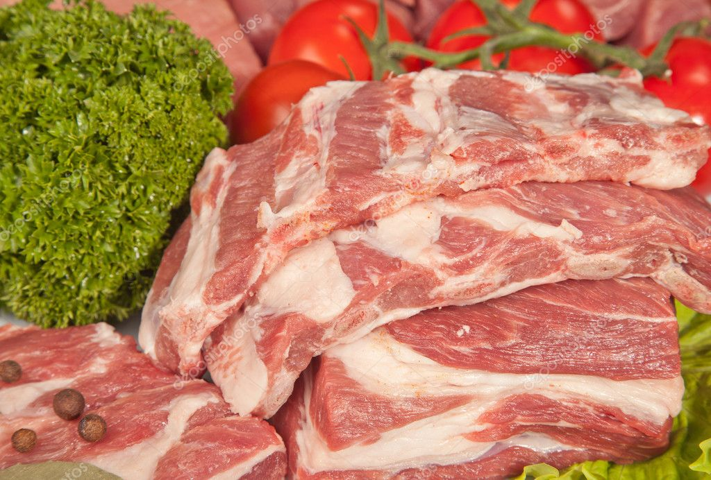 Raw Meat Background with pork edges; Beef Meat, Turkey and ground beef ...