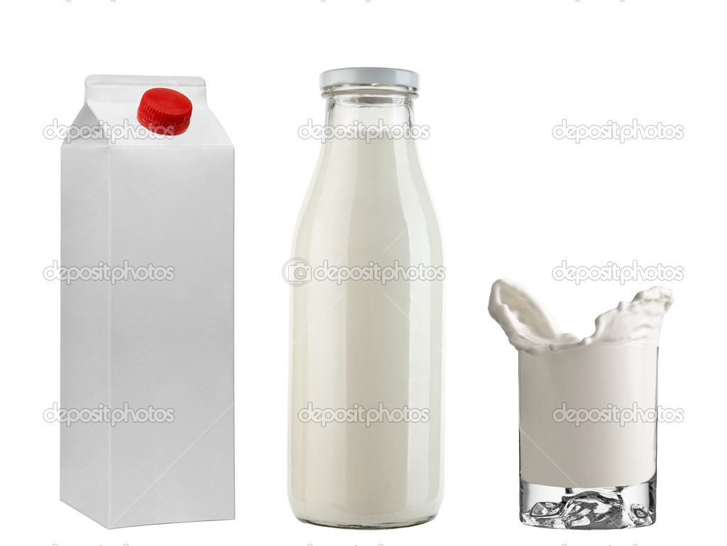 Bottle & tetrapak with milk + Freeze milk in glass isolated on white background — Stock Photo #5705607