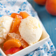 Ice cream with peaches — Stock Photo