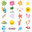 Summer icons set - Stok Vektör