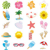 Summer icons set — Stok Vektör