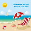 Stock Vector: Summer beach
