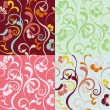 Abstract seamless floral patterns set — Stockvektor