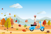 Autumn landscape and scooter woman — Stock Vector