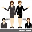 Stock Vector: Business woman set