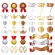 Stock Vector: Gold Silver bronze Awards Set