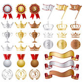 Gold Silver bronze Awards Set — Stock Vector