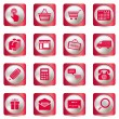 Pink shopping icons set — Stock Vector