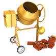 Stock Photo: Clean new yellow concrete mixer with helmet, trowel and few bric