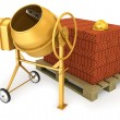 Stock Photo: Clean new yellow concrete mixer with helmet and stack of bricks