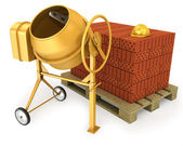 Clean new yellow concrete mixer with helmet and stack of bricks — Stock Photo
