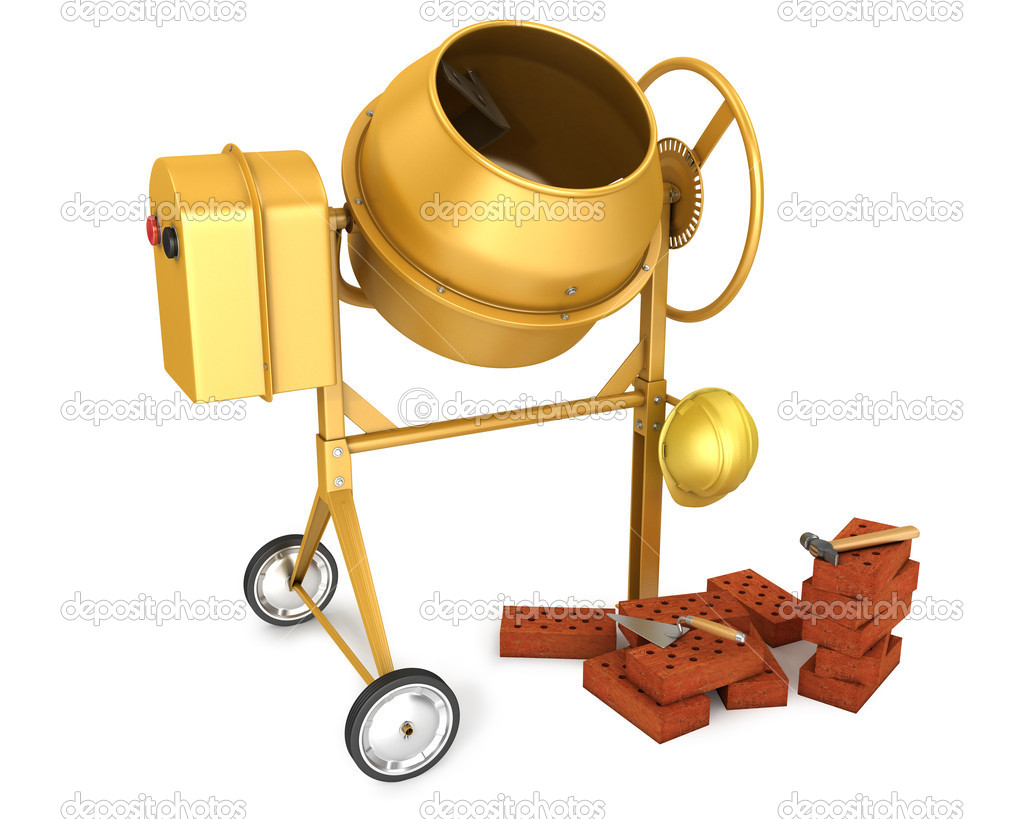 Clean new yellow concrete mixer with helmet, trowel and few bricks, isolated on white background — Stock Photo #6251573