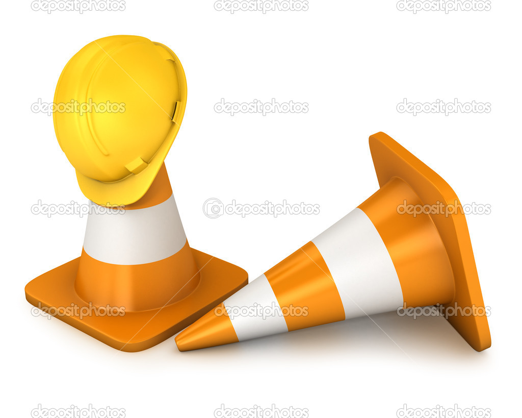 Two roadcones and yellow helmet isolated on white background — Stock Photo #6251646