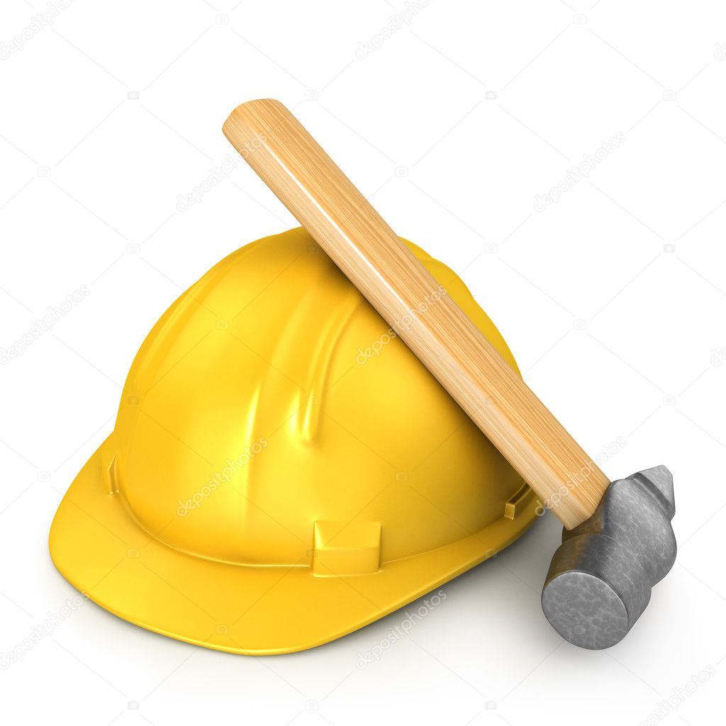 New yellow helmet with hammer isolated on white background — Stock Photo #6251654