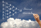 Hand drawing social network concept on the sky background by chalk — Stock Photo
