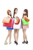 Three happy asian shopping woman — Stock Photo