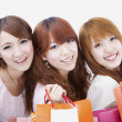 Three happy shopping girl — Stock Photo