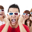 Surprised Young in 3D glasses and watching a movie — Foto de Stock