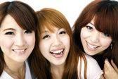 Happy group of asian girls smiling — Stock Photo