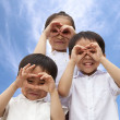 Stock Photo: Three asian kids