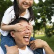 Stock Photo: Happy little girl and her father