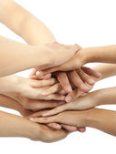 Group of young 's hands together — Stock Photo